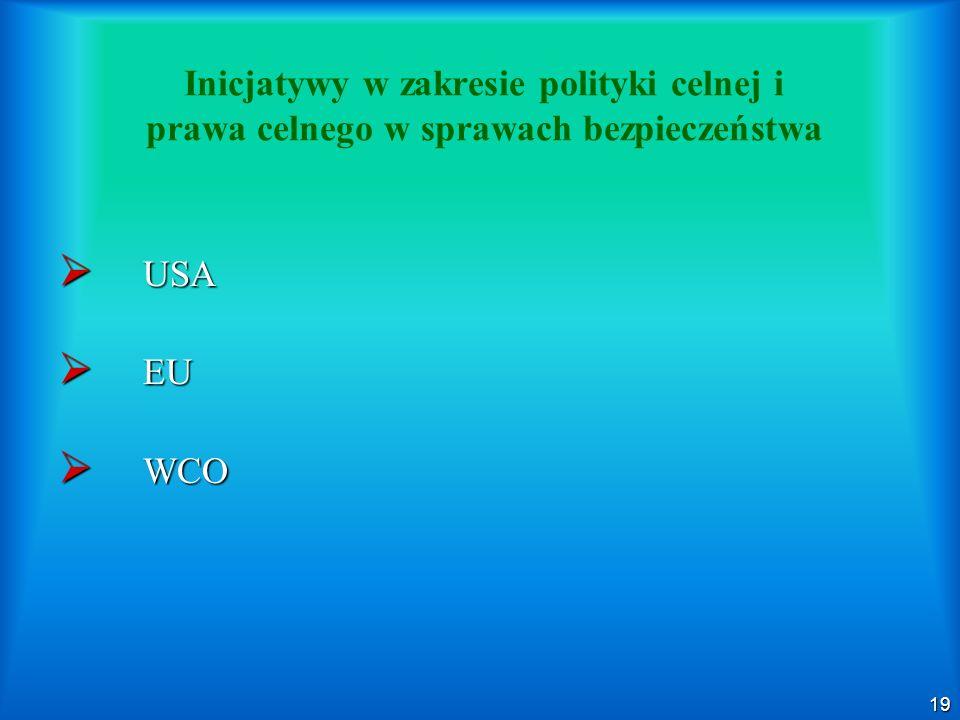 19 Inicjatywy w zakresie polityki celnej i prawa celnego w sprawach bezpieczeństwa USA USA EU EU WCO WCO