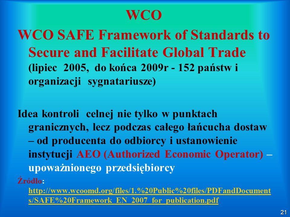 21 WCO WCO SAFE Framework of Standards to Secure and Facilitate Global Trade (lipiec 2005, do końca 2009r - 152 państw i organizacji sygnatariusze) Id