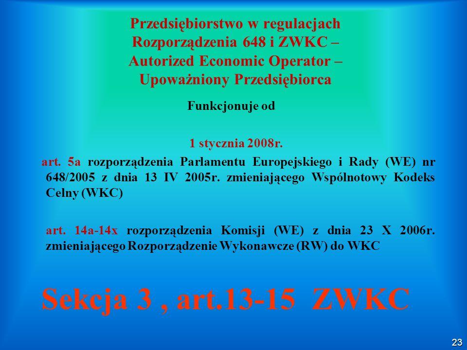 23 Przedsiębiorstwo w regulacjach Rozporządzenia 648 i ZWKC – Autorized Economic Operator – Upoważniony Przedsiębiorca Funkcjonuje od 1 stycznia 2008r