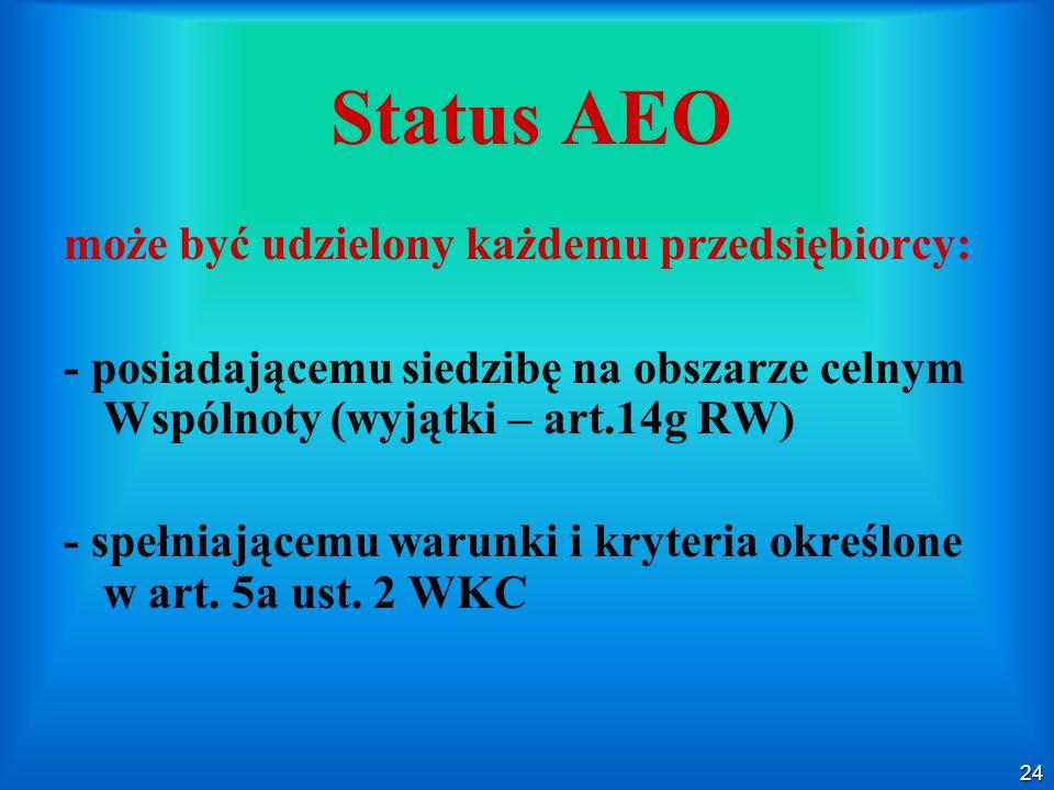 24 Status AEO może być udzielony każdemu przedsiębiorcy: - posiadającemu siedzibę na obszarze celnym Wspólnoty (wyjątki – art.14g RW) - spełniającemu