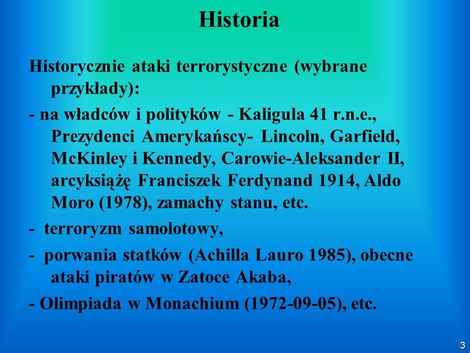 3 Historia Historycznie ataki terrorystyczne (wybrane przykłady): - na władców i polityków - Kaligula 41 r.n.e., Prezydenci Amerykańscy- Lincoln, Garf
