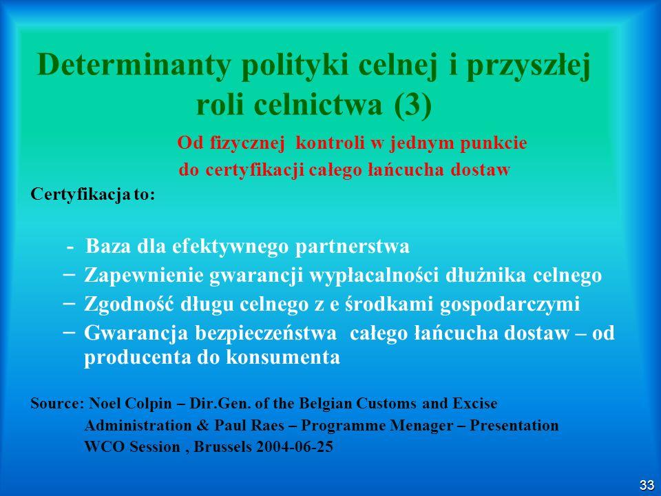 33 Determinanty polityki celnej i przyszłej roli celnictwa (3) Od fizycznej kontroli w jednym punkcie do certyfikacji całego łańcucha dostaw Certyfika