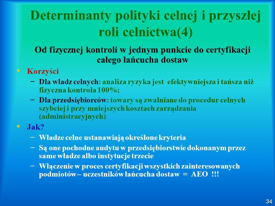 34 Determinanty polityki celnej i przyszłej roli celnictwa(4) Od fizycznej kontroli w jednym punkcie do certyfikacji całego łańcucha dostaw Korzyści –