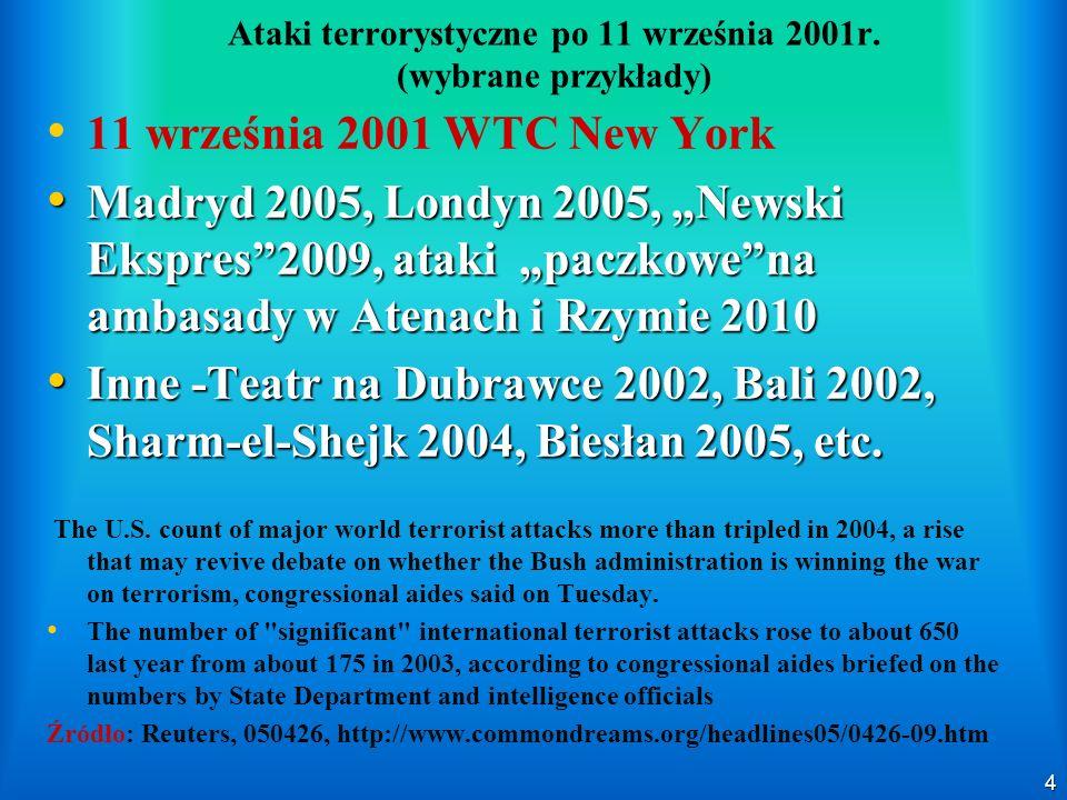 4 Ataki terrorystyczne po 11 września 2001r. (wybrane przykłady) 11 września 2001 WTC New York Madryd 2005, Londyn 2005, Newski Ekspres2009, ataki pac