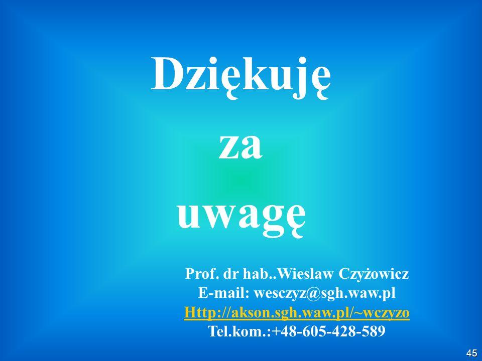 45 Dziękuję za uwagę Prof. dr hab..Wieslaw Czyżowicz E-mail: wesczyz@sgh.waw.pl Http://akson.sgh.waw.pl/~wczyzo Tel.kom.:+48-605-428-589