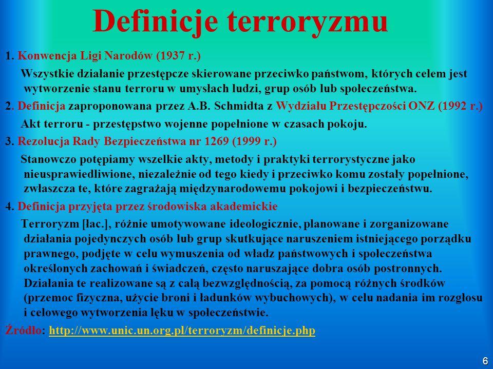 6 Definicje terroryzmu 1. Konwencja Ligi Narodów (1937 r.) Wszystkie działanie przestępcze skierowane przeciwko państwom, których celem jest wytworzen