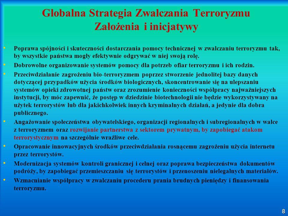 8 Globalna Strategia Zwalczania Terroryzmu Założenia i inicjatywy Poprawa spójności i skuteczności dostarczania pomocy technicznej w zwalczaniu terror