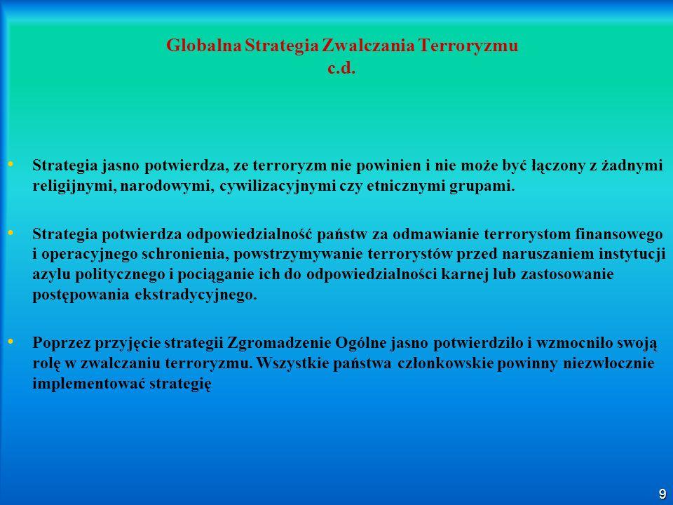 9 Globalna Strategia Zwalczania Terroryzmu c.d. Strategia jasno potwierdza, ze terroryzm nie powinien i nie może być łączony z żadnymi religijnymi, na