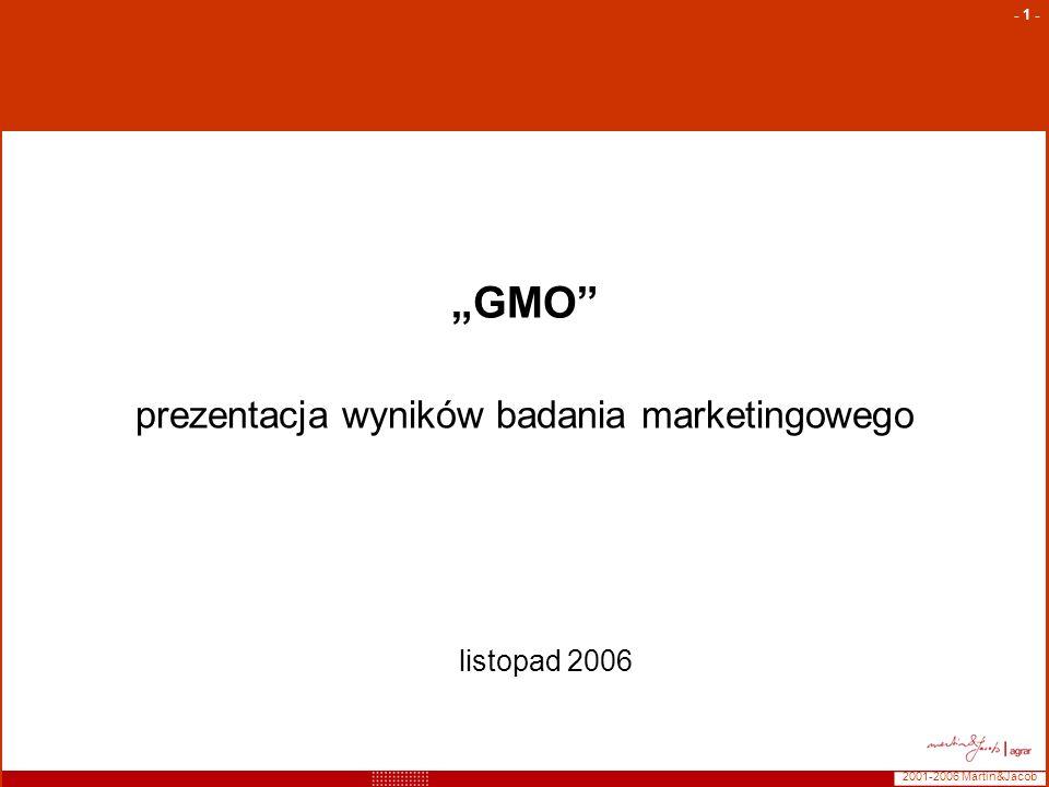 2001-2006 Martin&Jacob - 2 - Opis badania Metodologia: badanie ilościowe, realizacja face to face, próba kwotowa, kontrolowana ze względu na województwo oraz wielkość gospodarstwa rolnego (dane na podstawie GUS) Grupa docelowa: Właściciele (lub osoby decyzyjne) gospodarstw rolnych o powierzchni +50 ha Termin realizacji:wrzesień – październik 2006 Wielkość próby: Zrealizowano 635 wywiadów, do dalszych analiz zakwalifikowano 611 wywiadów