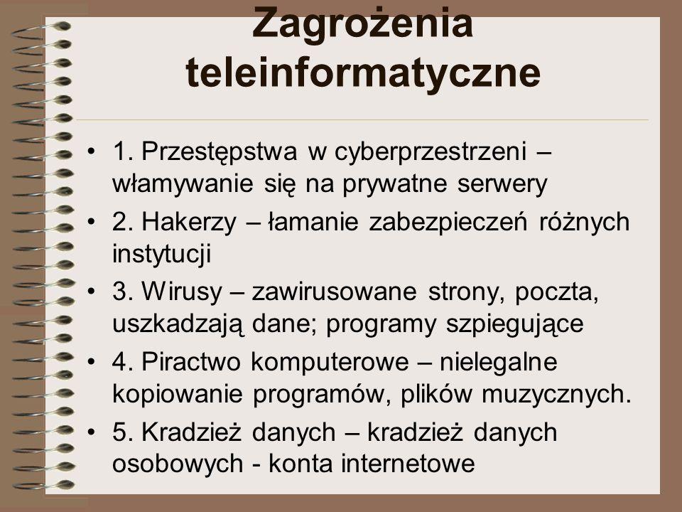 Zagrożenia teleinformatyczne 1. Przestępstwa w cyberprzestrzeni – włamywanie się na prywatne serwery 2. Hakerzy – łamanie zabezpieczeń różnych instytu
