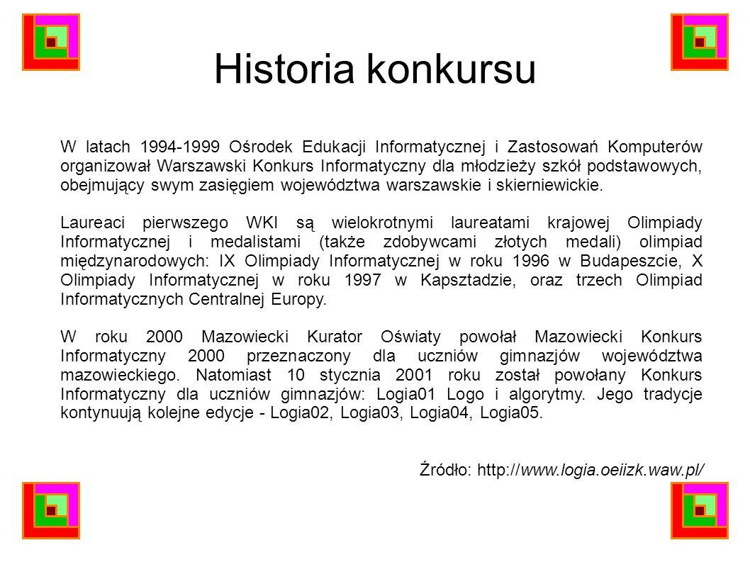 Historia konkursu W latach 1994-1999 Ośrodek Edukacji Informatycznej i Zastosowań Komputerów organizował Warszawski Konkurs Informatyczny dla młodzież