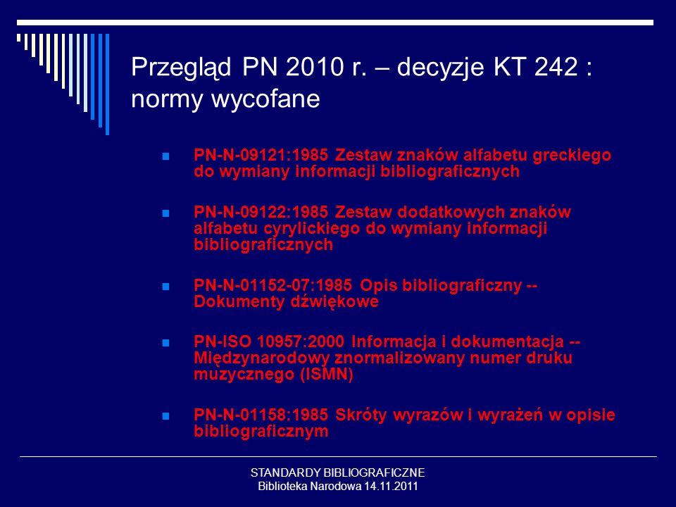 STANDARDY BIBLIOGRAFICZNE Biblioteka Narodowa 14.11.2011 Przegląd PN 2010 r. – decyzje KT 242 : normy wycofane PN-N-09121:1985 Zestaw znaków alfabetu