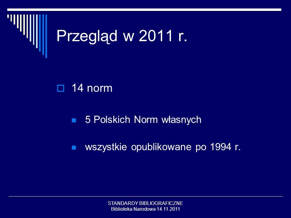 STANDARDY BIBLIOGRAFICZNE Biblioteka Narodowa 14.11.2011 Przegląd w 2011 r. 14 norm 5 Polskich Norm własnych wszystkie opublikowane po 1994 r.
