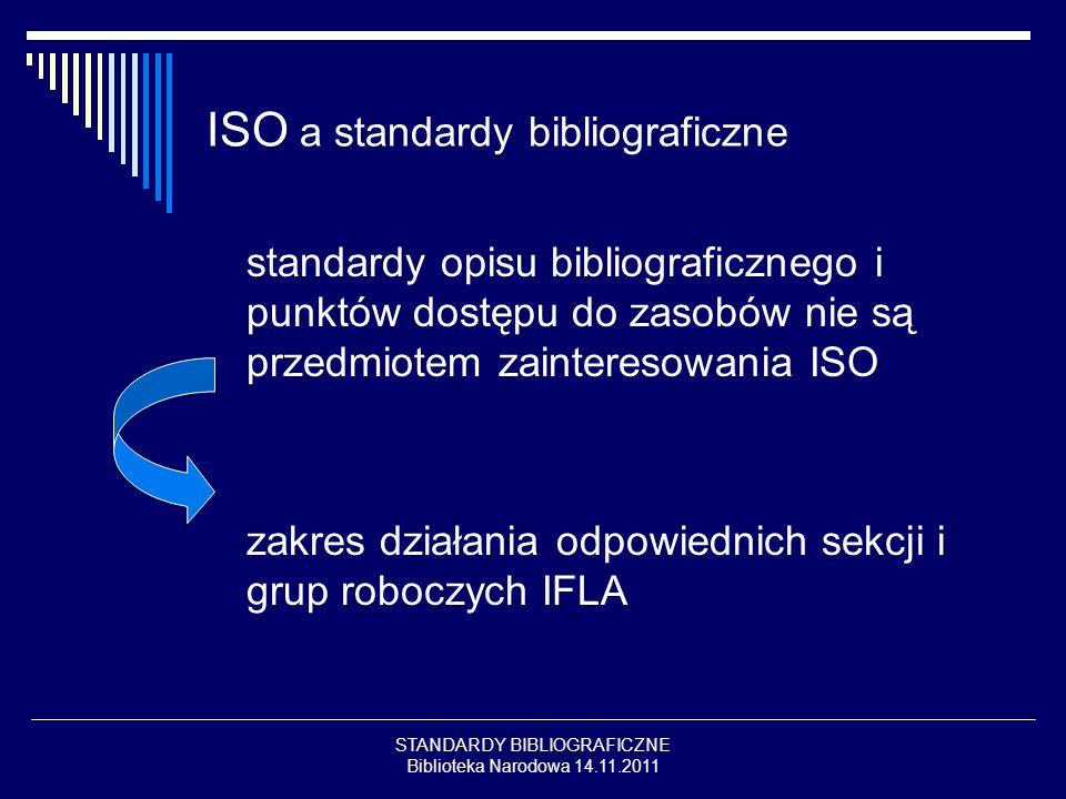 STANDARDY BIBLIOGRAFICZNE Biblioteka Narodowa 14.11.2011 ISO a standardy bibliograficzne standardy opisu bibliograficznego i punktów dostępu do zasobó