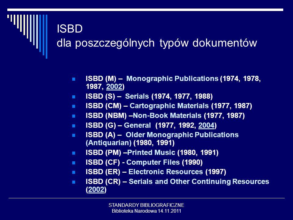 STANDARDY BIBLIOGRAFICZNE Biblioteka Narodowa 14.11.2011 ISBD dla poszczególnych typów dokumentów ISBD (M) – Monographic Publications (1974, 1978, 198