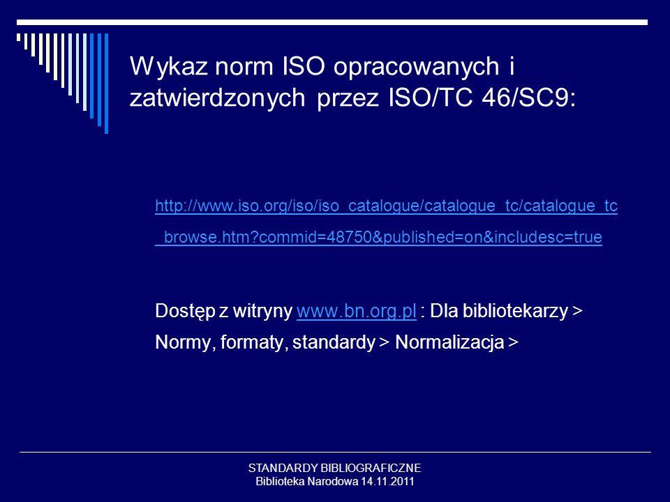 STANDARDY BIBLIOGRAFICZNE Biblioteka Narodowa 14.11.2011 Wykaz norm ISO opracowanych i zatwierdzonych przez ISO/TC 46/SC9: http://www.iso.org/iso/iso_