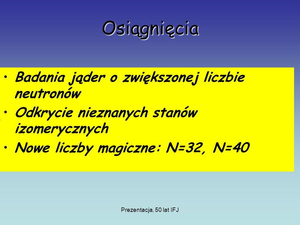 Prezentacja, 50 lat IFJ Osiągnięcia Badania jąder o zwiększonej liczbie neutronów Odkrycie nieznanych stanów izomerycznych Nowe liczby magiczne: N=32, N=40
