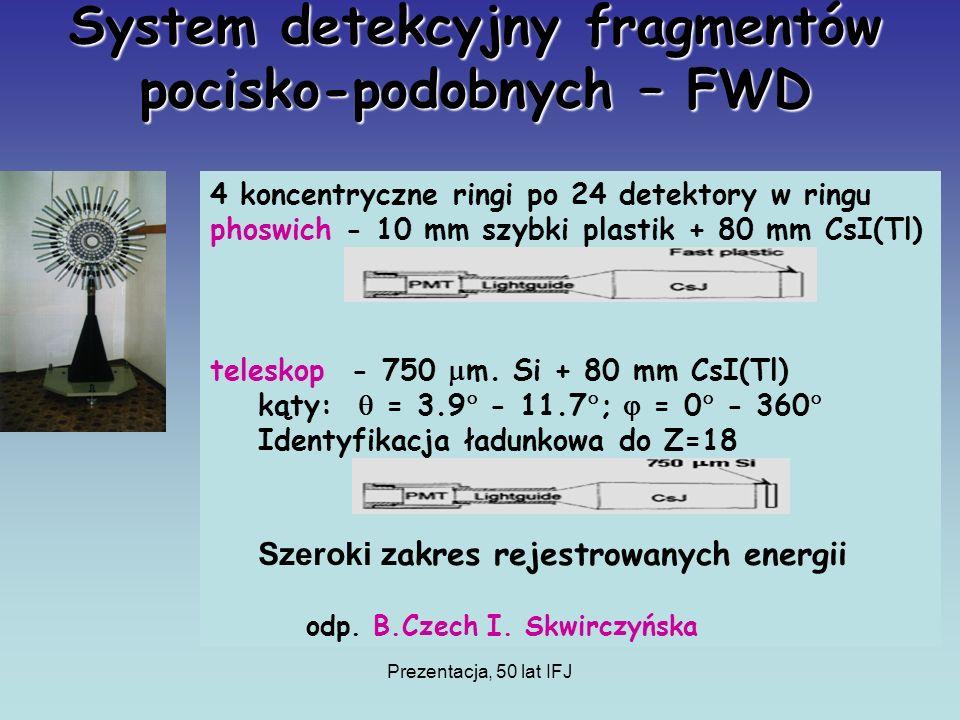 Prezentacja, 50 lat IFJ System detekcyjny fragmentów pocisko-podobnych – FWD 4 koncentryczne ringi po 24 detektory w ringu phoswich - 10 mm szybki plastik + 80 mm CsI(Tl) teleskop - 750 m.