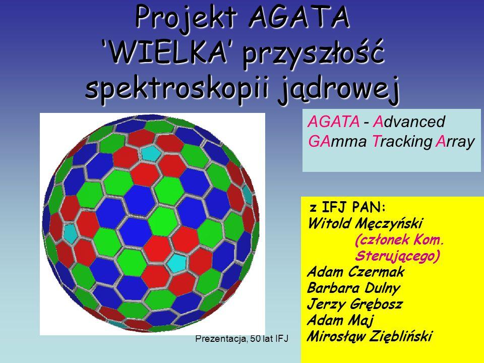 Prezentacja, 50 lat IFJ Projekt AGATA WIELKA przyszłość spektroskopii jądrowej z IFJ PAN: Witold Męczyński (członek Kom.