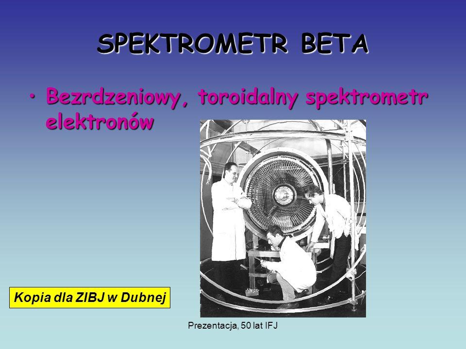 Prezentacja, 50 lat IFJ SPEKTROMETR BETA Bezrdzeniowy, toroidalny spektrometr elektronówBezrdzeniowy, toroidalny spektrometr elektronów Kopia dla ZIBJ w Dubnej