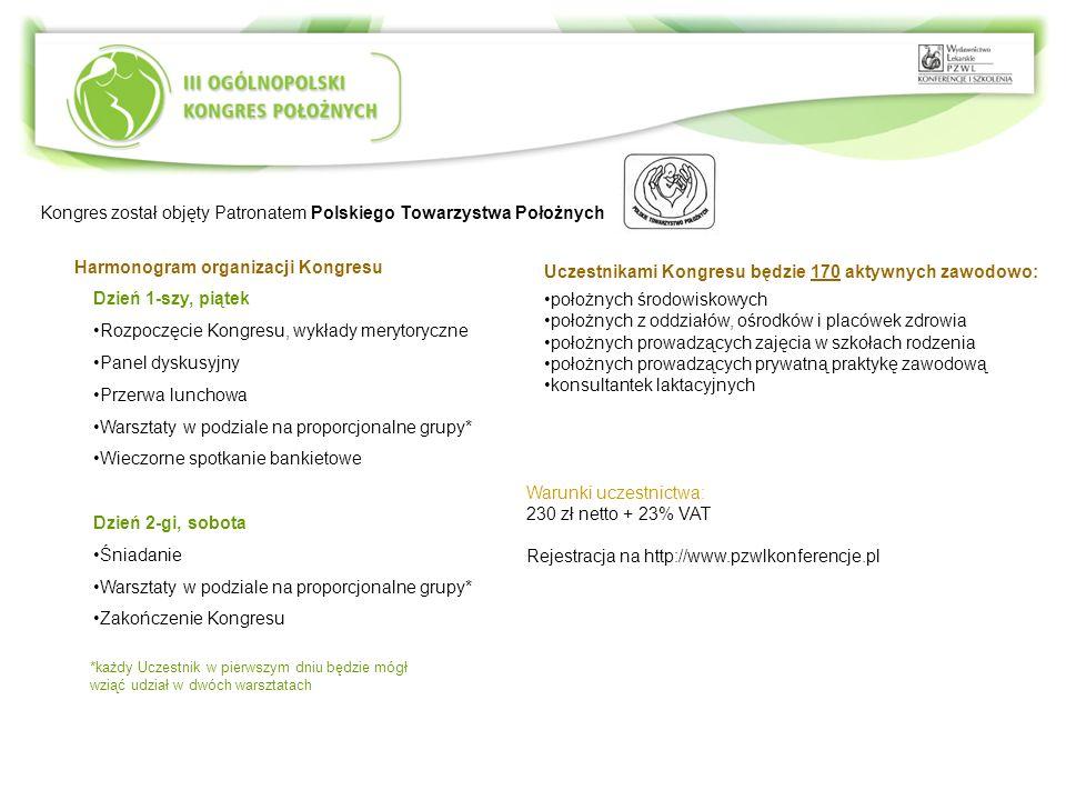 Kongres został objęty Patronatem Polskiego Towarzystwa Położnych Harmonogram organizacji Kongresu Dzień 1-szy, piątek Rozpoczęcie Kongresu, wykłady me