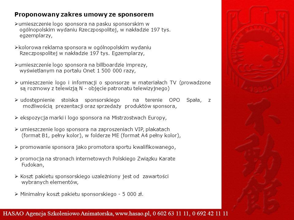 umieszczenie logo sponsora na pasku sponsorskim w ogólnopolskim wydaniu Rzeczpospolitej, w nakładzie 197 tys. egzemplarzy, kolorowa reklama sponsora w