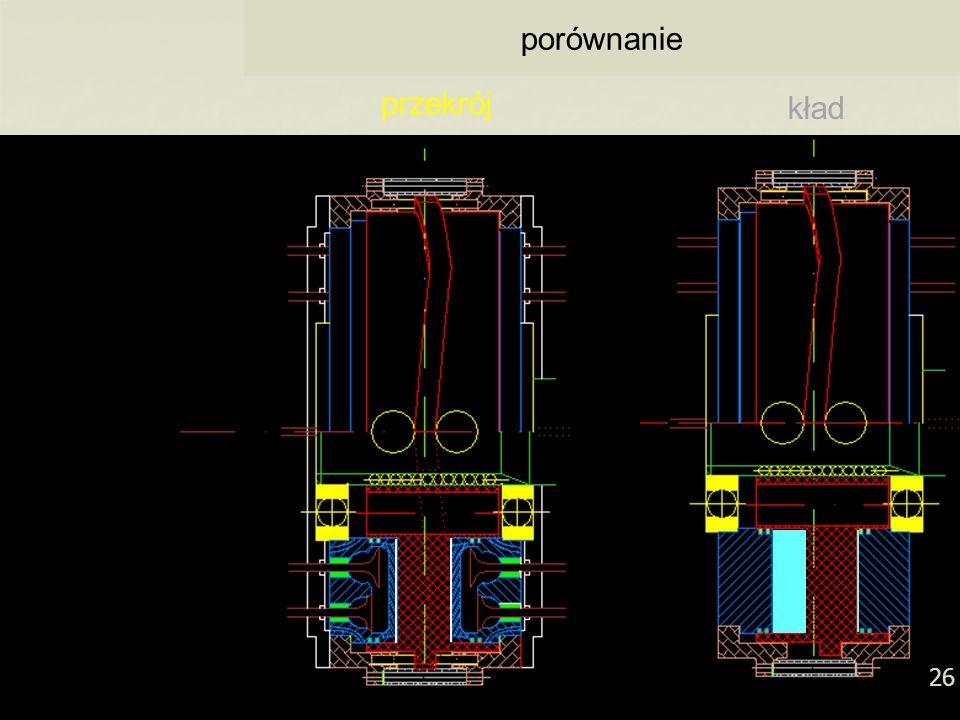 26 (Pół)przekrój silnika w kładzie porównanie przekrój kład 26 kład przekrój