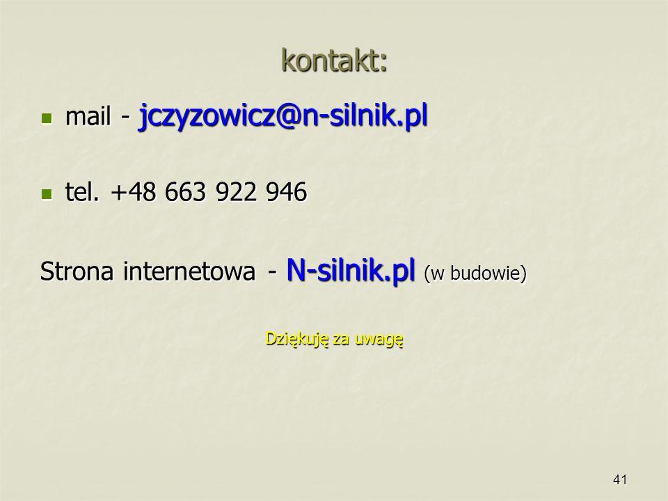 41 kontakt: mail - jczyzowicz@n-silnik.pl mail - jczyzowicz@n-silnik.pl tel. +48 663 922 946 tel. +48 663 922 946 Strona internetowa - N-silnik.pl (w