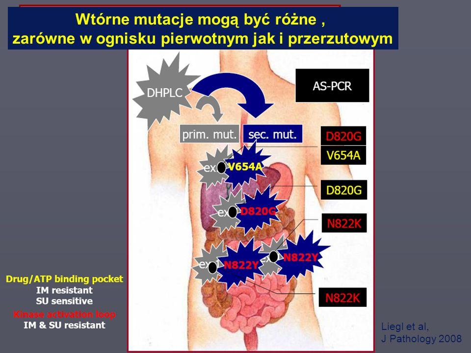 CO-I KNTM/K i CzS Liegl et al, J Pathology 2008 Wtórne mutacje mogą być różne, zarówne w ognisku pierwotnym jak i przerzutowym
