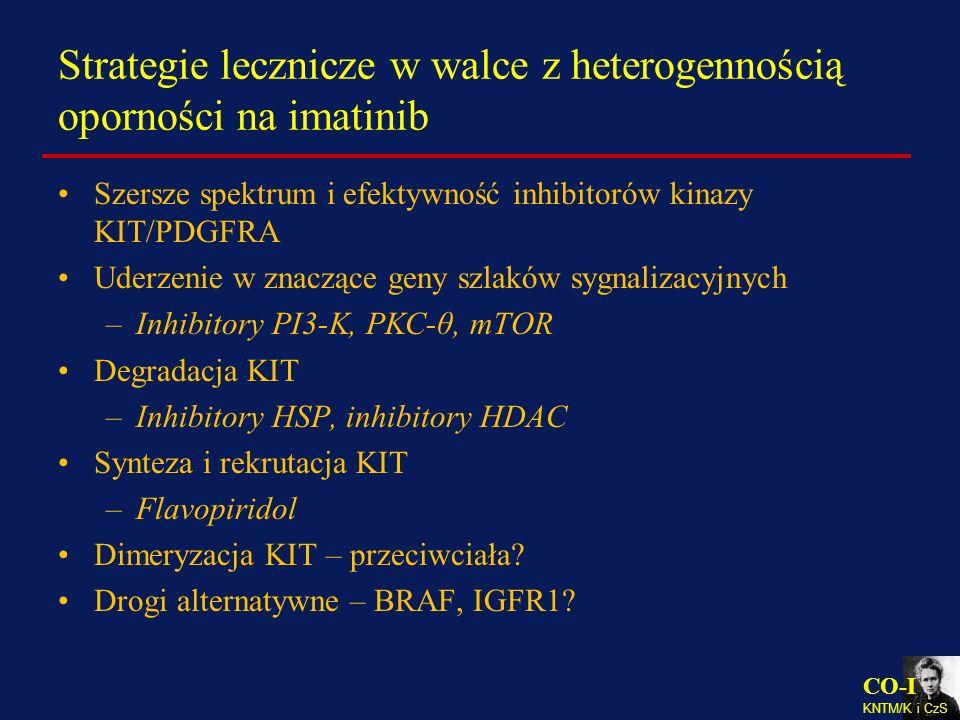 CO-I KNTM/K i CzS Strategie lecznicze w walce z heterogennością oporności na imatinib Szersze spektrum i efektywność inhibitorów kinazy KIT/PDGFRA Ude