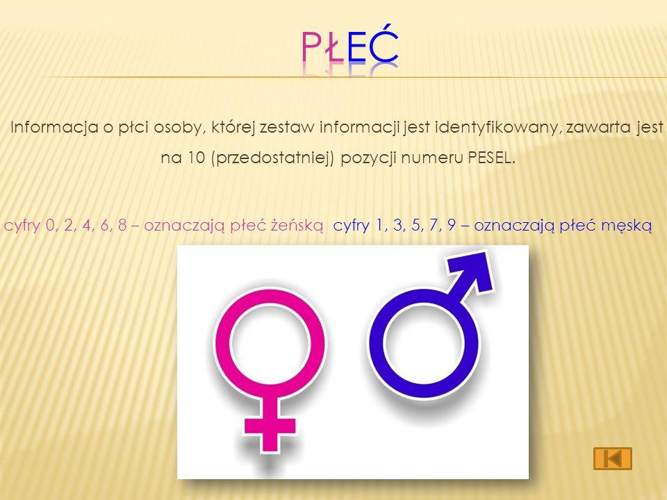 Informacja o płci osoby, której zestaw informacji jest identyfikowany, zawarta jest na 10 (przedostatniej) pozycji numeru PESEL.