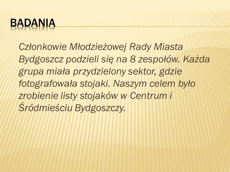 Członkowie Młodzieżowej Rady Miasta Bydgoszcz podzieli się na 8 zespołów. Każda grupa miała przydzielony sektor, gdzie fotografowała stojaki. Naszym c