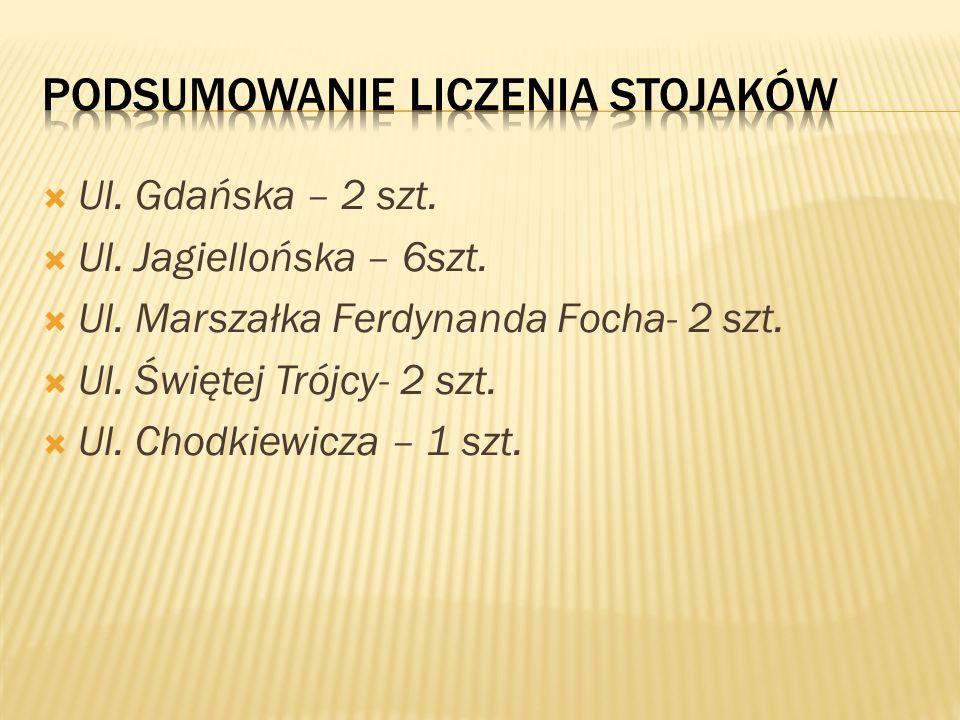Ul. Gdańska – 2 szt. Ul. Jagiellońska – 6szt. Ul. Marszałka Ferdynanda Focha- 2 szt. Ul. Świętej Trójcy- 2 szt. Ul. Chodkiewicza – 1 szt.
