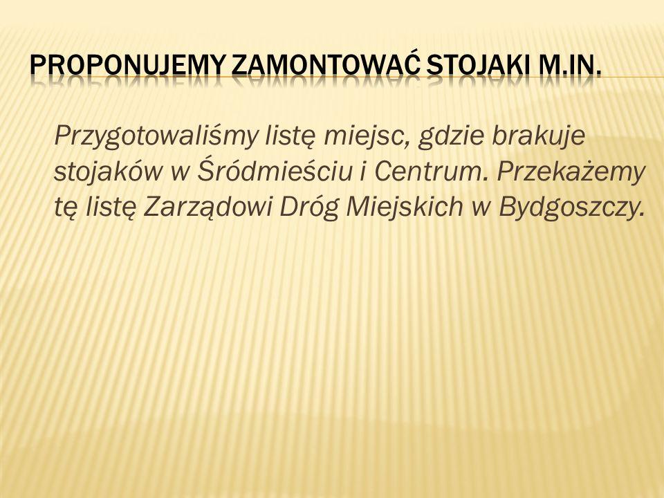 Przygotowaliśmy listę miejsc, gdzie brakuje stojaków w Śródmieściu i Centrum. Przekażemy tę listę Zarządowi Dróg Miejskich w Bydgoszczy.