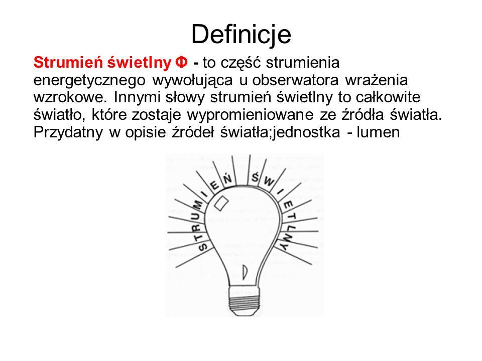 Definicje Strumień świetlny Φ - to część strumienia energetycznego wywołująca u obserwatora wrażenia wzrokowe. Innymi słowy strumień świetlny to całko