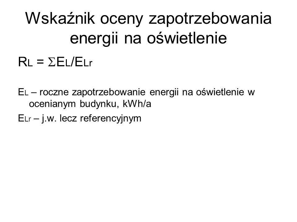 Wskaźnik oceny zapotrzebowania energii na oświetlenie R L = E L /E Lr E L – roczne zapotrzebowanie energii na oświetlenie w ocenianym budynku, kWh/a E