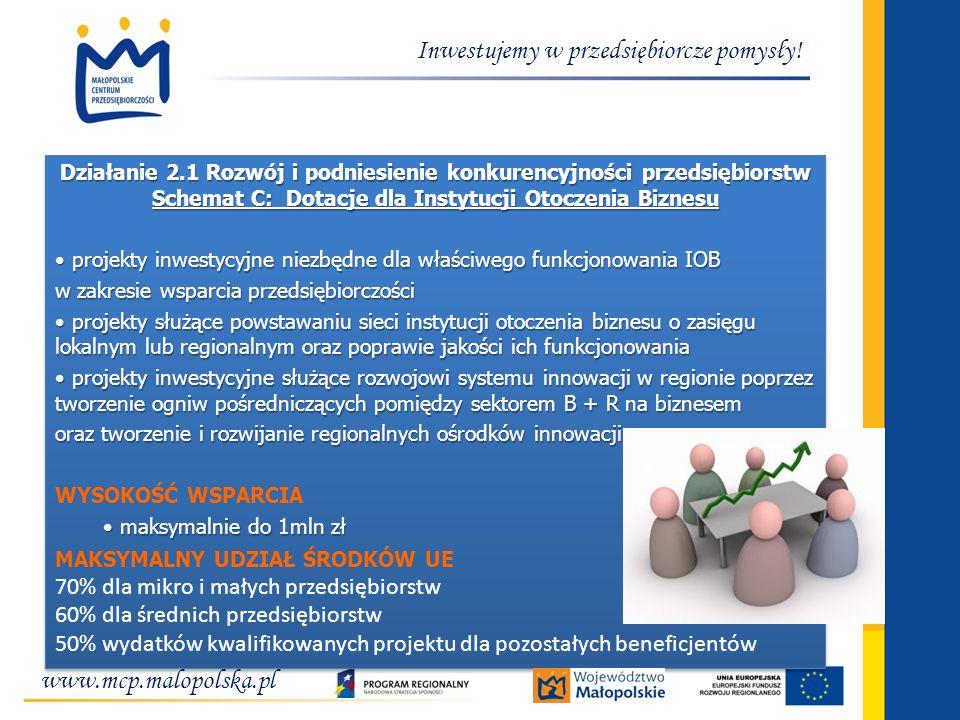 Inwestujemy w przedsiębiorcze pomysły! Działanie 2.1 Rozwój i podniesienie konkurencyjności przedsiębiorstw Schemat C: Dotacje dla Instytucji Otoczeni
