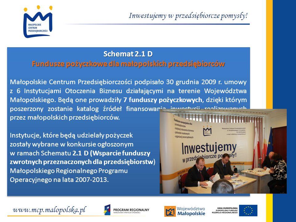 Inwestujemy w przedsiębiorcze pomysły! Schemat 2.1 D Fundusze pożyczkowe dla małopolskich przedsiębiorców Małopolskie Centrum Przedsiębiorczości podpi