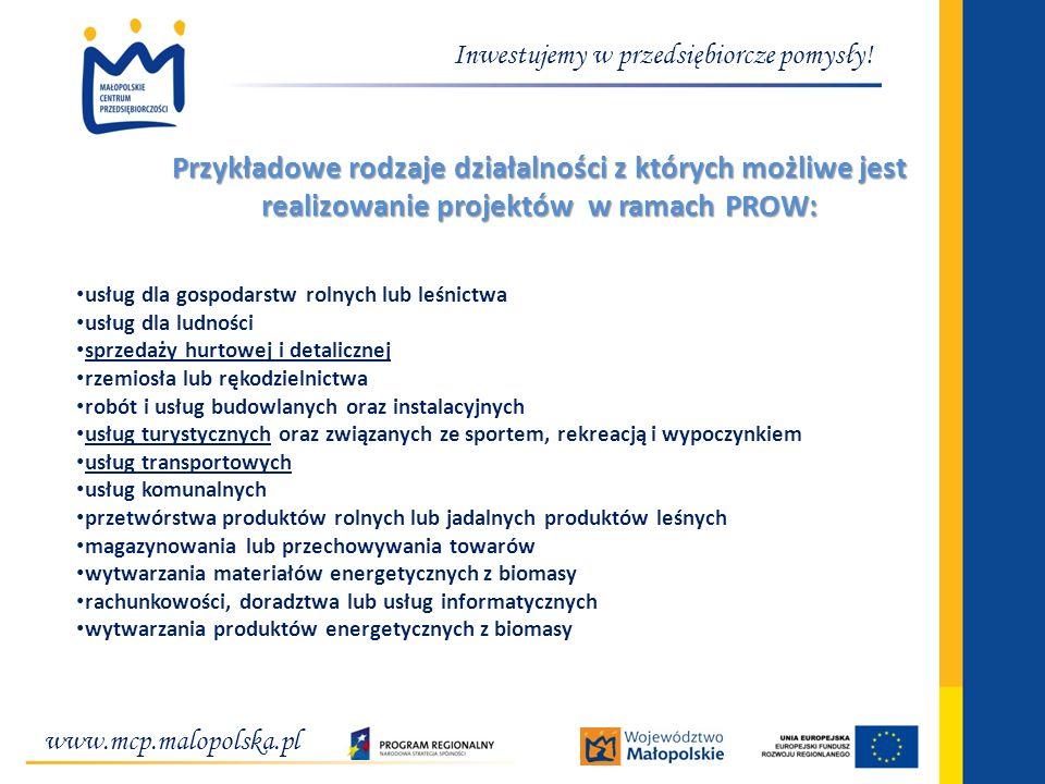 www.mcp.malopolska.pl Inwestujemy w przedsiębiorcze pomysły! Przykładowe rodzaje działalności z których możliwe jest realizowanie projektów w ramach P