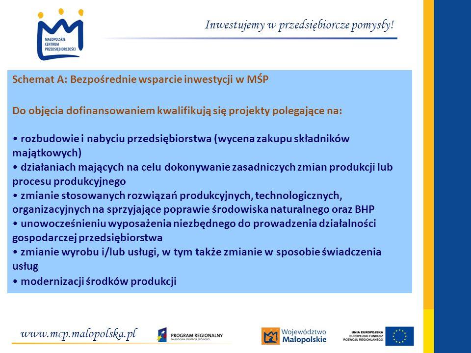 www.mcp.malopolska.pl Inwestujemy w przedsiębiorcze pomysły! Schemat A: Bezpośrednie wsparcie inwestycji w MŚP Do objęcia dofinansowaniem kwalifikują