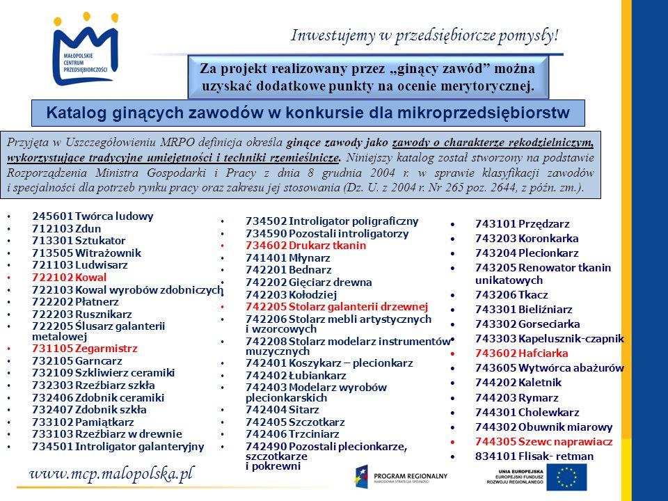 www.mcp.malopolska.pl Inwestujemy w przedsiębiorcze pomysły! Katalog ginących zawodów w konkursie dla mikroprzedsiębiorstw Przyjęta w Uszczegółowieniu