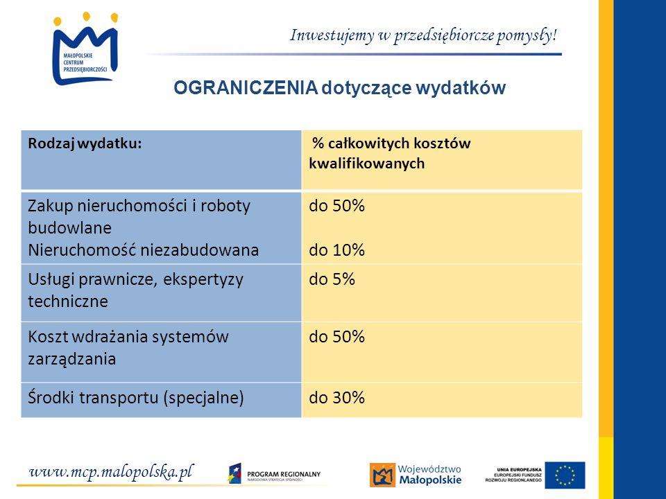 www.mcp.malopolska.pl Inwestujemy w przedsiębiorcze pomysły! OGRANICZENIA dotyczące wydatków Rodzaj wydatku: % całkowitych kosztów kwalifikowanych Zak
