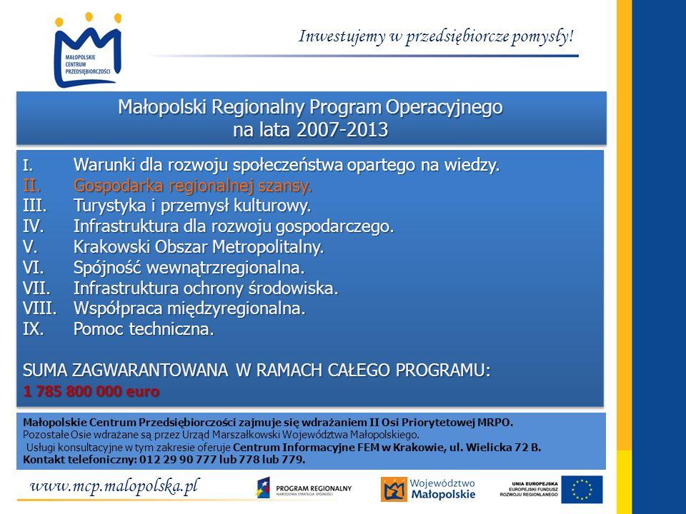 www.mcp.malopolska.pl Inwestujemy w przedsiębiorcze pomysły! Małopolski Regionalny Program Operacyjnego na lata 2007-2013 I. Warunki dla rozwoju społe