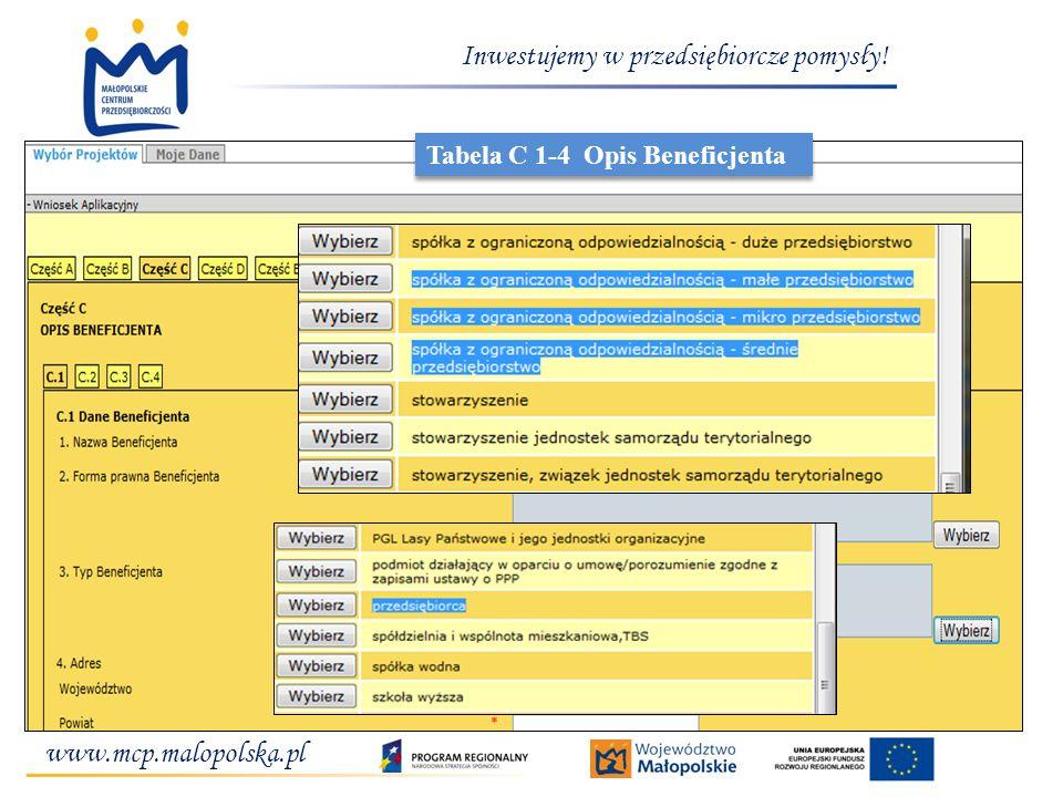 www.mcp.malopolska.pl Inwestujemy w przedsiębiorcze pomysły! Tabela C 1-4 Opis Beneficjenta