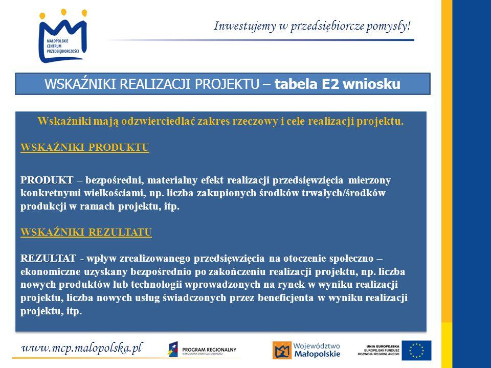 www.mcp.malopolska.pl Inwestujemy w przedsiębiorcze pomysły! WSKAŹNIKI REALIZACJI PROJEKTU – tabela E2 wniosku Wskaźniki mają odzwierciedlać zakres rz