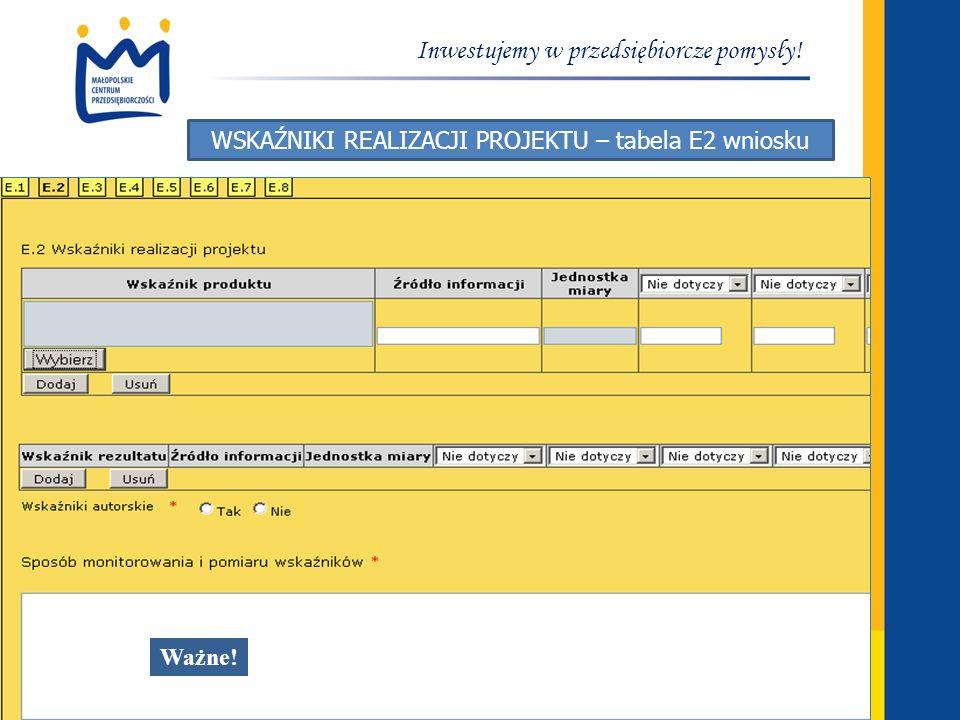 www.mcp.malopolska.pl Inwestujemy w przedsiębiorcze pomysły! WSKAŹNIKI REALIZACJI PROJEKTU – tabela E2 wniosku Ważne!