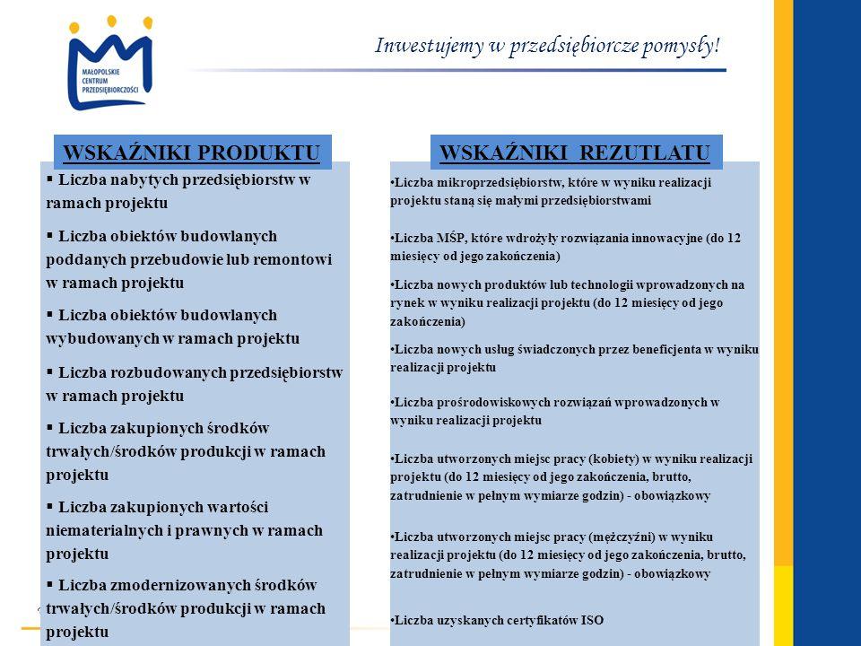 www.mcp.malopolska.pl Inwestujemy w przedsiębiorcze pomysły! Liczba nabytych przedsiębiorstw w ramach projektu Liczba obiektów budowlanych poddanych p