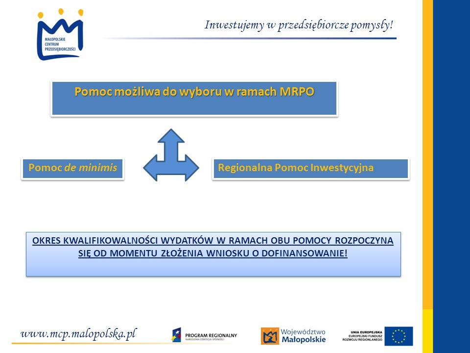 www.mcp.malopolska.pl Inwestujemy w przedsiębiorcze pomysły! Pomoc możliwa do wyboru w ramach MRPO Pomoc de minimis Regionalna Pomoc Inwestycyjna OKRE