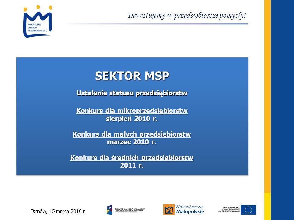 Tarnów, 15 marca 2010 r. Inwestujemy w przedsiębiorcze pomysły! SEKTOR MSP Ustalenie statusu przedsiębiorstw Konkurs dla mikroprzedsiębiorstw sierpień