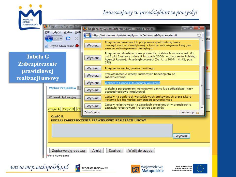 www.mcp.malopolska.pl Inwestujemy w przedsiębiorcze pomysły! Tabela G Zabezpieczenie prawidłowej realizacji umowy